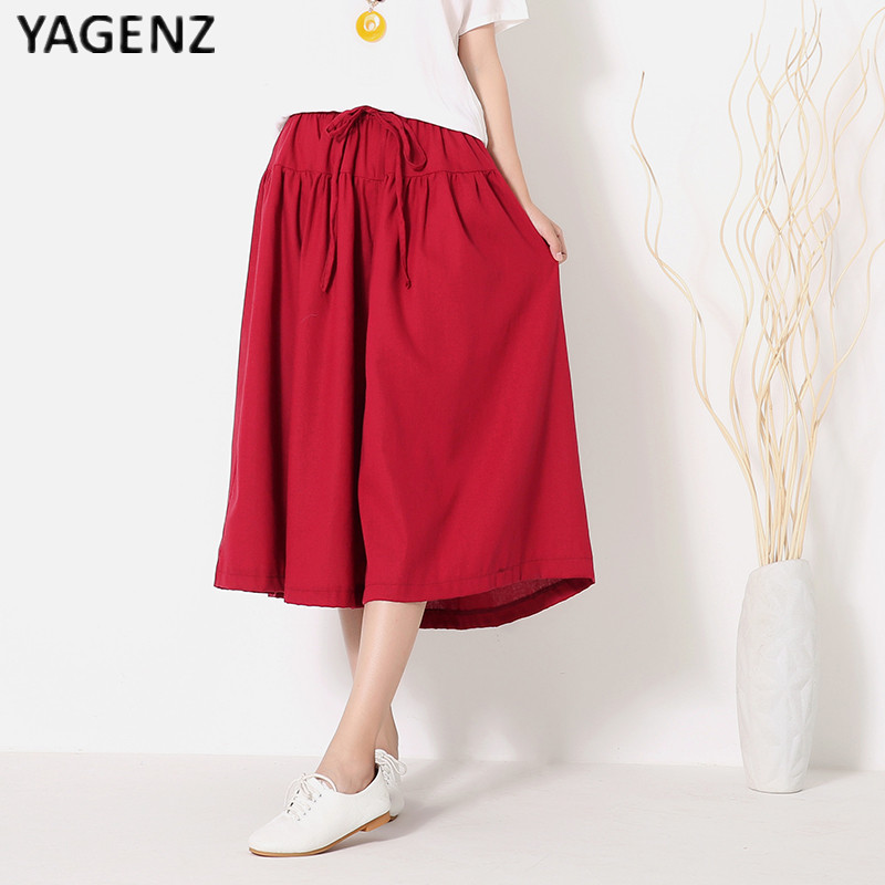 YAGENZ 2019 new large size of cotton linen   shorts   skirts casual women   shorts   summer autumn girdle Elastic   shorts   skirts B028