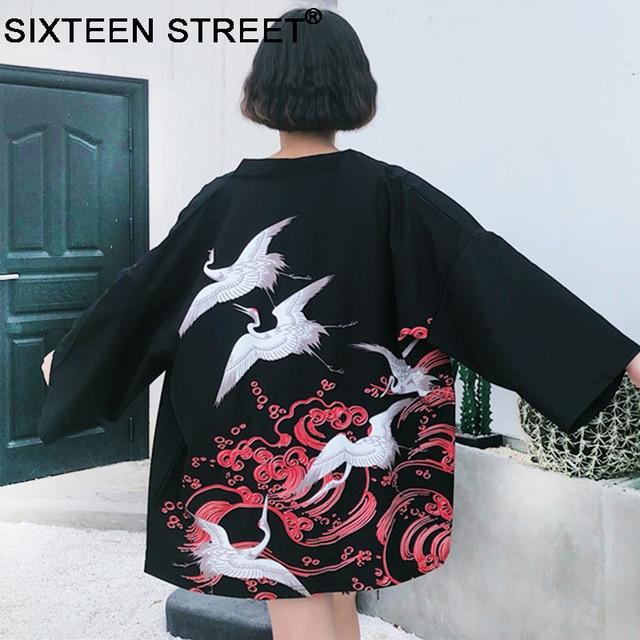 2018 New Korean Fashion Woman Kimono printed Crane kimono Chinese wind restoring ancient ways thin coat sun-protective clothing