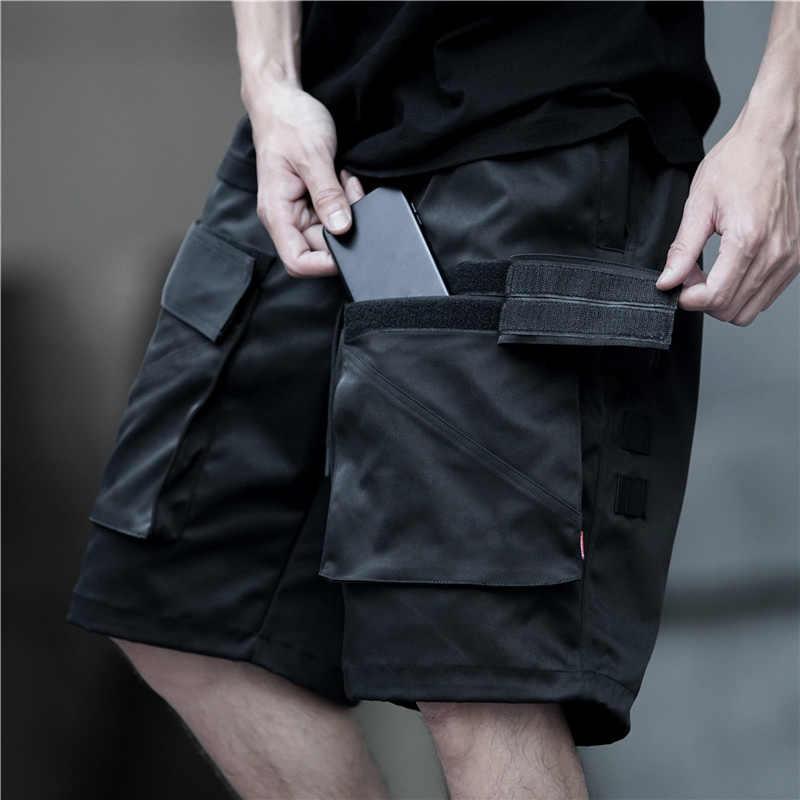 Men Black Shorts Rock Hip Hop Cargo Short Pants Mens Black Casual Streetwear Pants Casual Loose