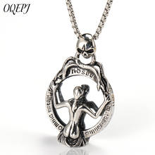 OQEPJ Gothic Skeleton Mirror Necklaces Pendant 316L Stainless Steel Men Necklace Silver Color Sexy Beauty Jewelry For Gift