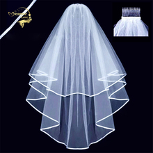 Hot New Cheap Wholesale Wedding Accessorie Tulle White Veil Two Layers Ribbon Edge Bridal With Comb Voile Mariage VI3290