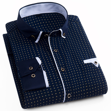 Aoliwen Mens long sleeve printed business casual shirt polka dot Turn down Mandarin collar Flannel Button Brand men