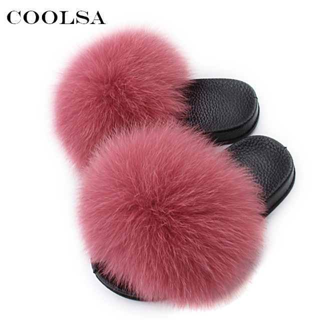 42829cd5445 Hot Children Fox Fur Slippers Raccoon Fur Kids Slides Fluffy Fox Hair Kids  Sandals Flat Indoor