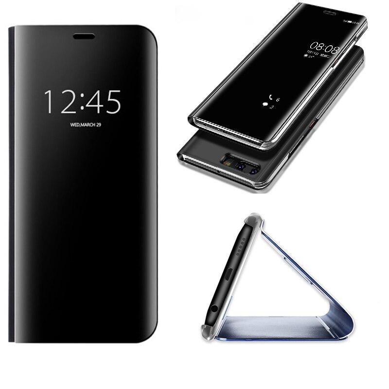 Para Huawei Mate 10 9 Pro P Smart Clear espejo ver Filp soporte táctil para Hawei P10 P9 P8 plus Honor 8 V10 lite 2017 cubierta