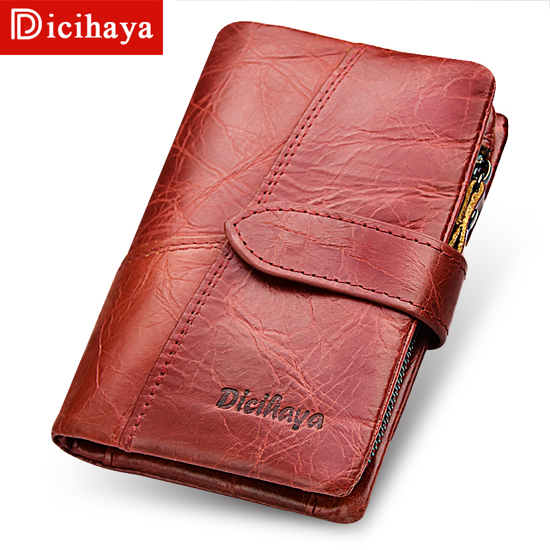 DICIHAYA New Fashion Women Wallets Red Genuine Leather Zipper Wallet with Coin Bag Women's Short Design Purse Retro Clutch Purse women wallets drawstring nubuck leather zipper wallet women short purse retro tassels clutch