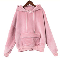 Super High Quality Velvet Hoodies Woman Coat Winter Thick Tops Hooded Sweatshirt Female Pockets Pink Khaki