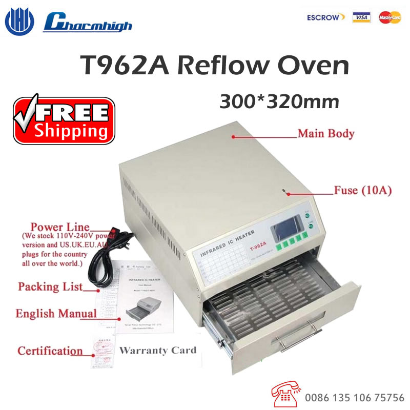 Discount! Free Shipping T962A Reflow Oven 300*320mm 1500w Infrared IC Heater BGA SMD SMT Soldering Welding Sation 110v 220v(China)
