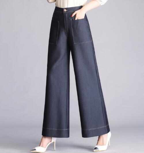 azul Capris Cintura Nueva Otoño Yyf0806 Primavera Jeans Mujeres Ancha Pantalones Verano De Tencel Pierna Negro Alta Azul Causales Negro Bolsillos Moda 0ZqYCARxw