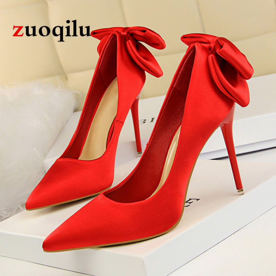 Bow Tie High Heels Red Wedding Shoes Women Pumps Ladies heels Shoes Pumps Women Shoes 2018 luxury brand crystal patent leather sandals women high heels thick heel women shoes with heels wedding shoes ladies silver pumps