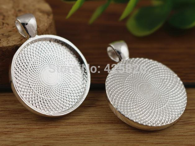 New Fashion 10pcs 25mm Inner Size Silver Classic Style Cabochon Base Setting Charms  Pendant (A5-07)