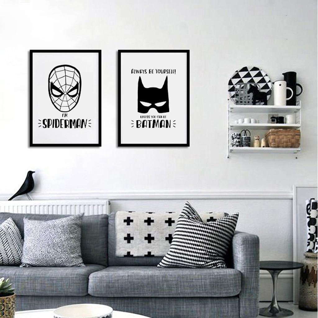 Cute Cartoon Superhero Minimalist Art Canvas Poster Print Iron Man  Batman Spider Man Black White Picture for  Wall Decor FA088 signs