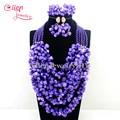 2016 New Indian Completo Nigeriano Beads Boda Joyería Set 5 Capas Púrpura Perlas Africanas Joyería Coral Beads Necklace Sets E1120