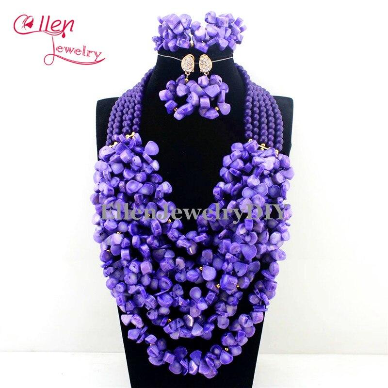 2016 New Indian Full Nigerian Wedding Beads Jewelry Set Purple ...