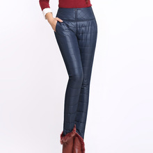 #2723 Winter Pants Women Thick Elastic High Waist Tight Duck Down Warm Velvet Trousers Plus Size S-6XL