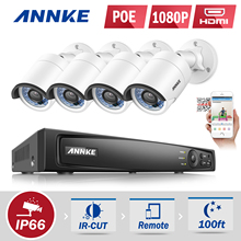 ANNKE 4CH HD 1080P 6MP NVR 2.0MP IP Camera Network PoE Outdoor IR VCA Home Security Camera System