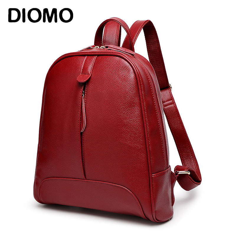 DIOMO backpack for girls women s backpacks fashion solid color red black brown female shoulder backpacks