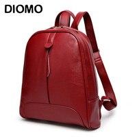 DIOMO mochila para niñas mochilas de las mujeres de moda sólido de color rojo negro marrón mujer mochilas hombro
