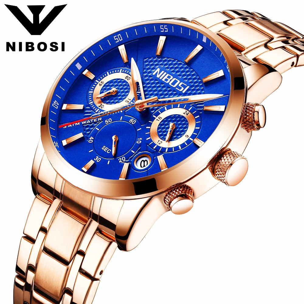 Men's Fashion Business Quartz Watch Metal & Leather Band NIBOSI Chronograph Waterproof Date Display Analog Sport Wrist Watches fabulous 2016 quicksand pattern leather band analog quartz vogue wrist watches 11 23