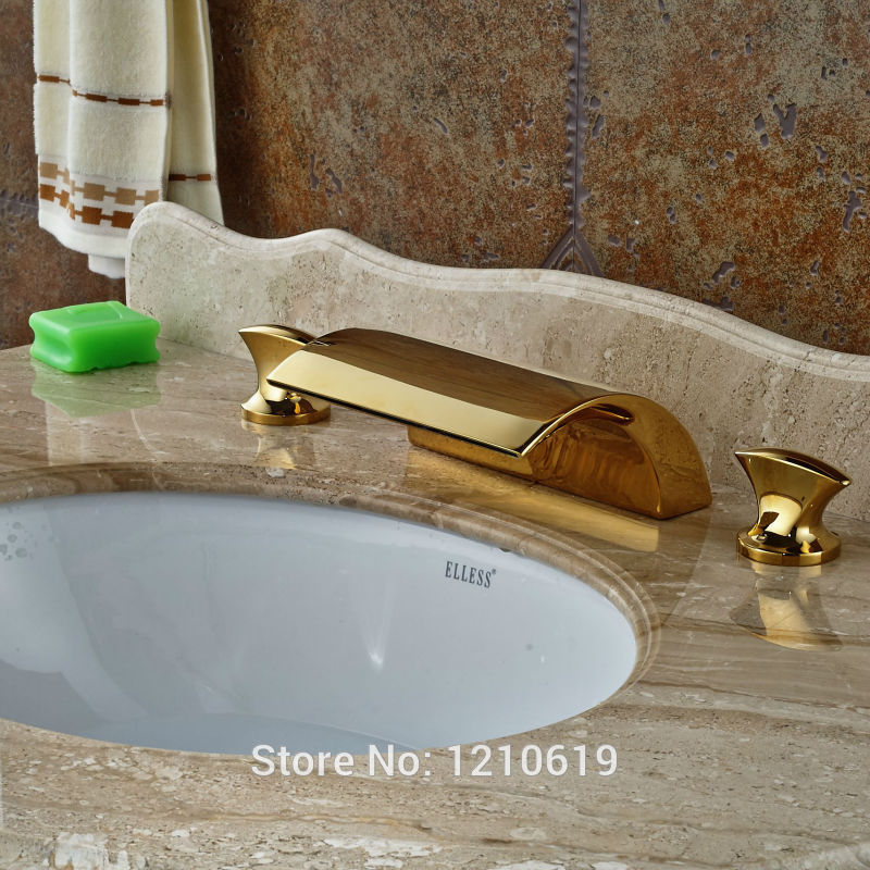 Newly Waterfall Basin Fsucet Dual Handle Gold Plate 3Pcs Sink Mixer Tap Cold&Hot Water Faucet Deck Mount newly dual handle godlen waterfall bathroom basin sink faucet deck mount 3 holes