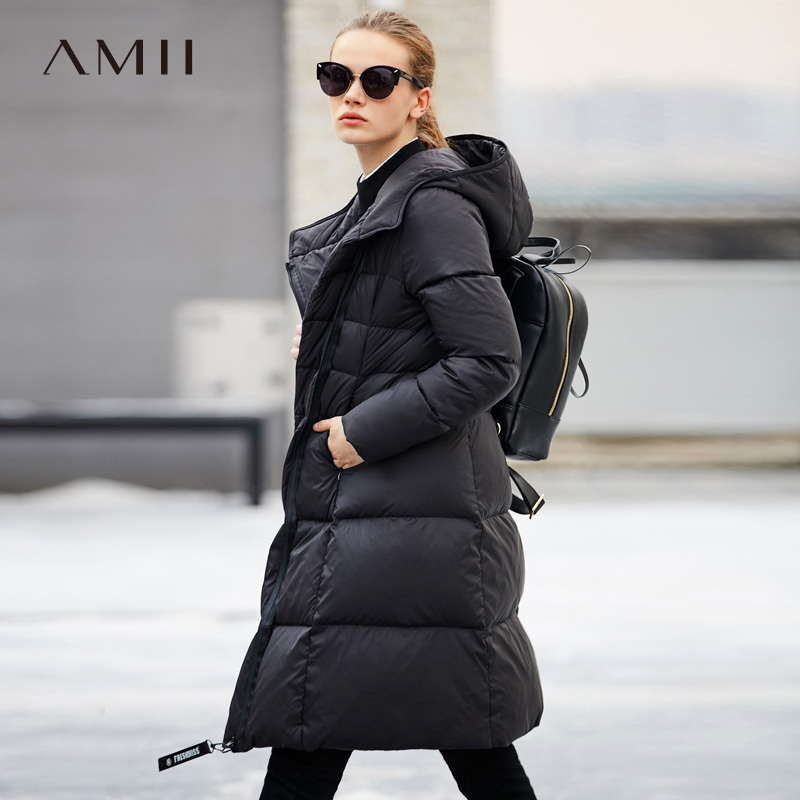 Amii Women 2018 Winter Asymmetric 90% White Duck Down Coat Hoodies Female Fashion Light Jacket Coats