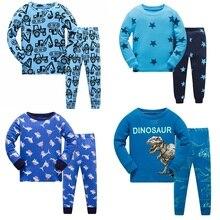 Купить с кэшбэком Kids Pajama Set Boys Dinosaur pattern Sleepwear Girls 100% cotton Pajamas Set Children Cartoon pyjama Baby Clothing Set