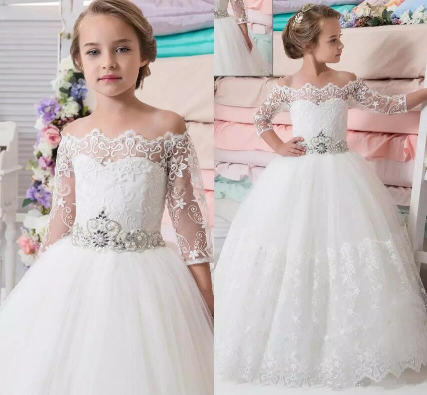 New 2017 flower girl dresses for weddings lace half sleeve beaded sash ball gown communion dress floor length pageant gowns