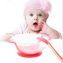 Children Tableware Baby Learning Dishes with spoonn Assist Food Bowl Temperature Sensing Spoon Baby Feeding Bowl training to eat-in Dishes