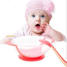 Children Tableware Baby Learning Dishes with spoonn Assist Food Bowl Temperature Sensing Spoon Baby Feeding Bowl training to eat(China)