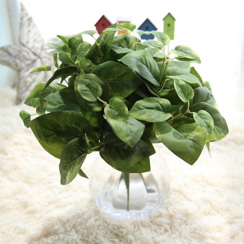 haochu unids de hoja perenne planta de seda hojas verdes flor artificial para el hogar