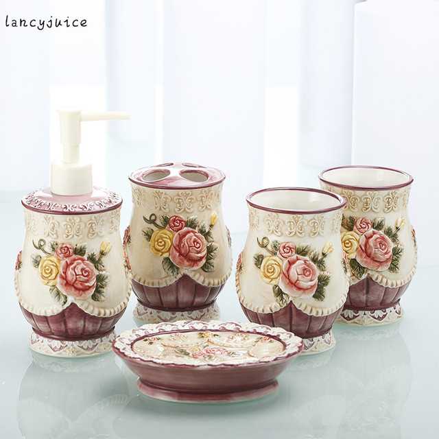 spesso Online Shop Accessori per il bagno set rosa fiori di Nozze di  GN19
