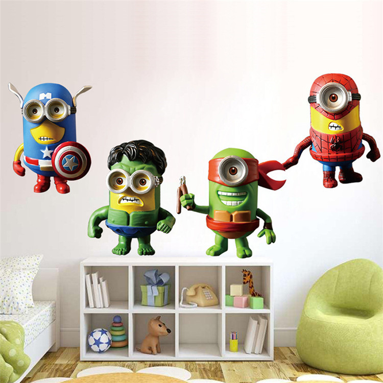 New 3d Minions Despicable Me Wall Sticker Kids Room Cartoon Avengers Tmnt Wall Decal Home