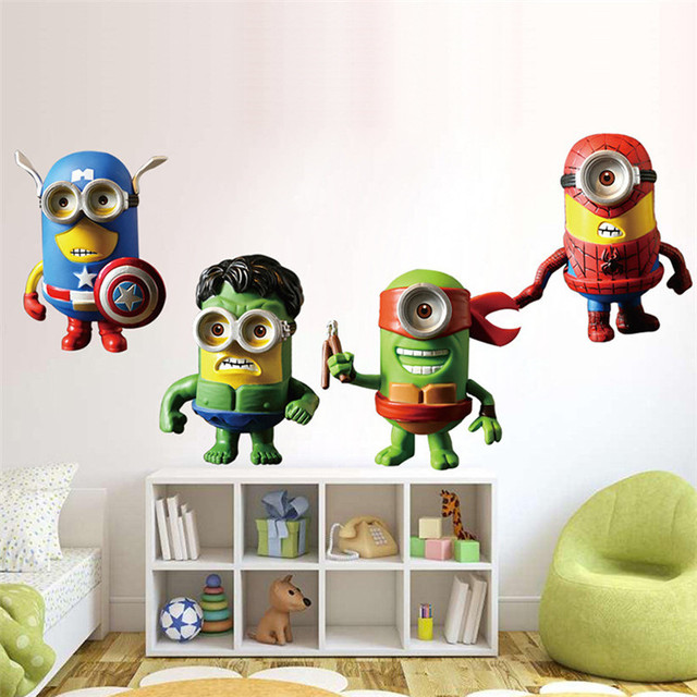 New 3D Minions Despicable Me Wall Sticker Kids Room Cartoon Avengers TMNT Decal Home Decoration
