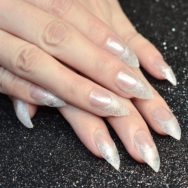 24pcs Shimmer Glitter Acrylic Fake Nails Clear Medium Point Head False Nail Tips Design Kit Makeup