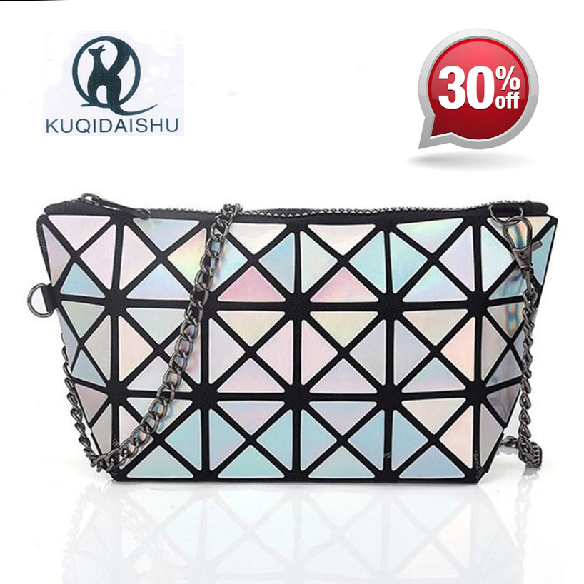 2018 Summer Bao Laser Chain Bag Fashion Hologram Women Plaid Bag Gold Clutch Woman Messenger Bags Small Shoulder Evening Bags