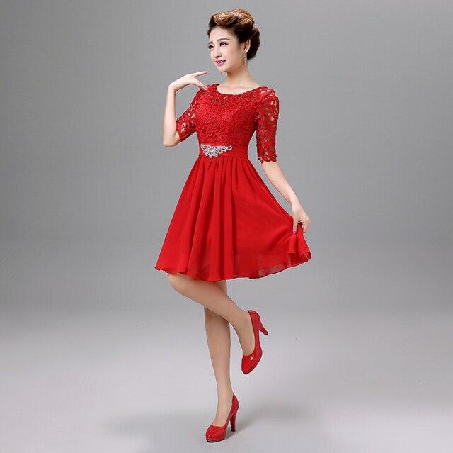 d7a2df80411 Короткие кружева красное платье элегантные вечерние женские вечерние платья  с камнями скромные платья для особых случаев