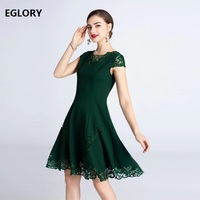 XXXL Dress Vestidos 2019 Summer Fashion Green Purple Dress Women Hollow Out Lace Patchwork Short Sleeve Vintage Rockabilly Dress