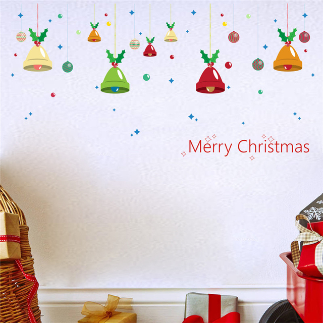 merry christmas bells wall stickers home decoration quotes decals diy festival mural art xmas gift