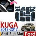 Para Ford KUGA 2013-2017 Goma Antideslizante Taza Cojín Ranura puerta Estera de Escape 2014 2015 2016 Accesorios Car Styling etiqueta