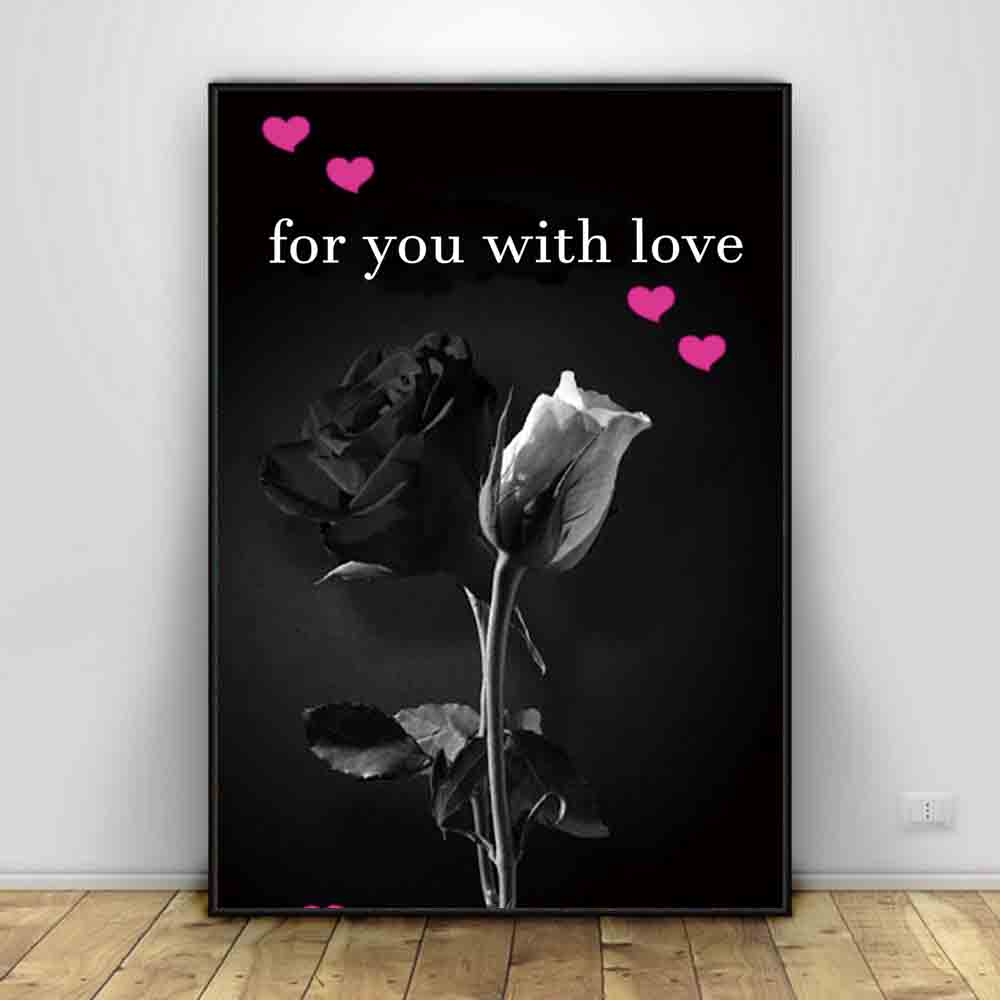 TaaWaa Black and White Rose Flower Art Silk Painting Posters Prints Sweet Quote Wall Picture For Living Room Decor