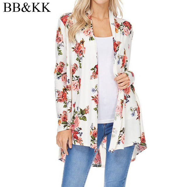 bc3c059b5a9fc Women Cotton Casual Long Sleeve Floral Printed Cardigan Kimono Blouse Waves Cover  Up Beach Shawl