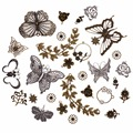 1set Vintage Mixed Silver Antique Bronze Charms Butterfly Flower Leaf Charm Pendants for DIY Jewelry Making Accessories #263743