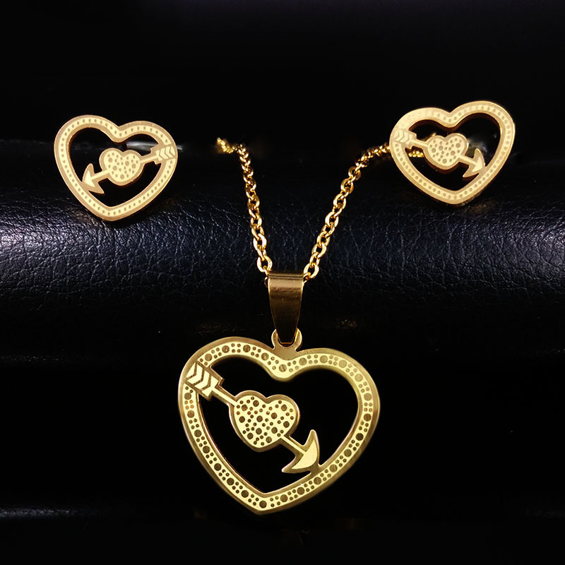 Stainless Steel Love Heart Jewelry Sets Women Gold Color Necklace Earrings jewelery costume joyas acero inoxidable mujer S61091