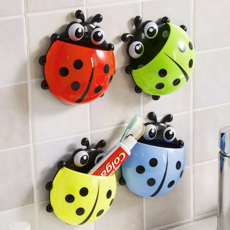 Bathroom Toothbrush Holder Ladybug Toothpaste Wall Mount Rack Suction Cup Hanging Organizer Bathroom Accessories