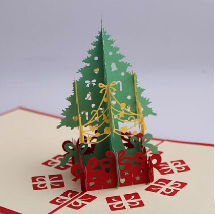 3D Laser Cut Stereoscopic Christmas Tree Birthday Handmade New Year Greeting Invitation Card Business Christmas Decoration