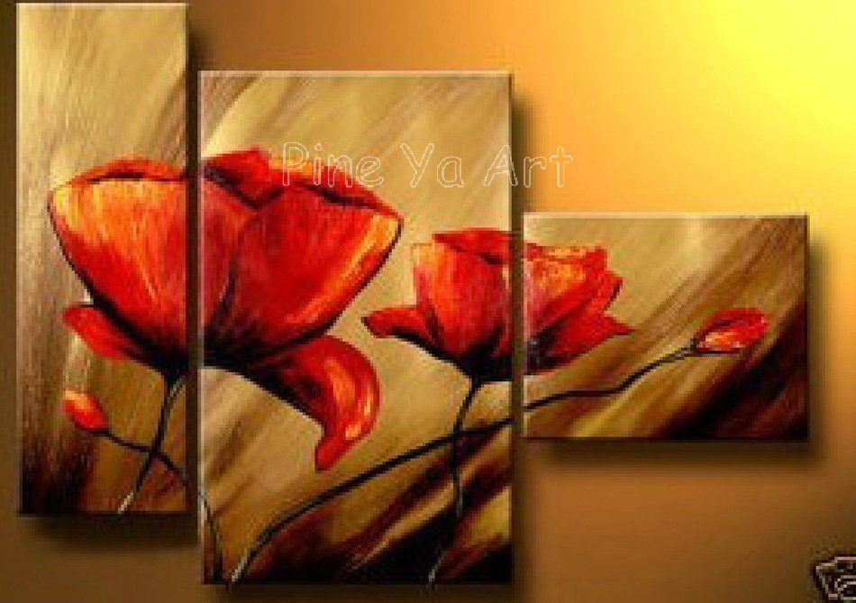 3 piece abstract modern canvas wall art cheap handmade red for Where to buy cheap artwork