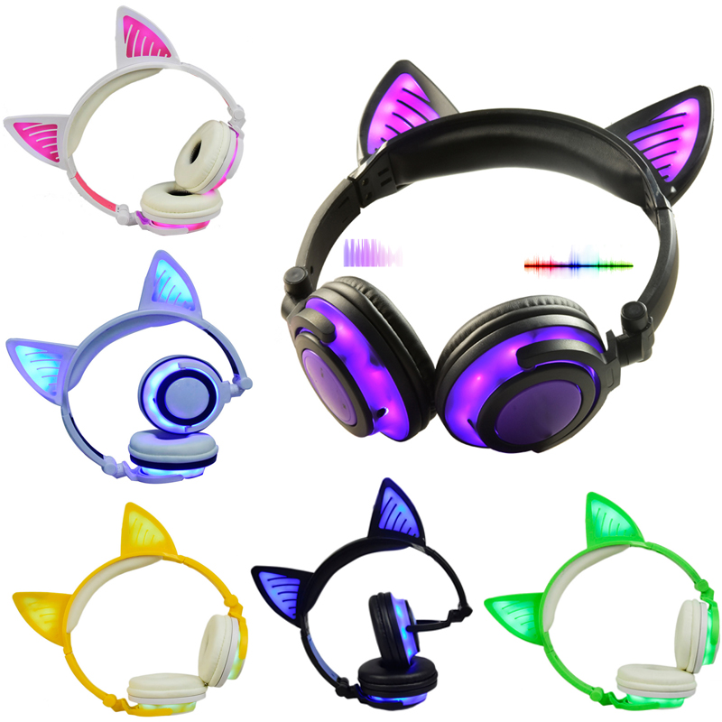 LIMSON 3.5mm Plug Bluetooth Wireless Headphone Cute Glowing Headset Folding Cat Ear Headband Gift for kids boys and girls