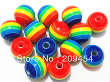 Hot sale 20mm 100pcs/lot  resin  rainbow beads, chunky beads for chunky necklace making