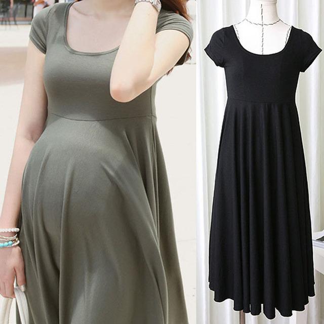 Vestidos de maternidade roupas para mulheres grávidas gravidez roupas o-pescoço de manga curta 4 cores fino dress desgaste do verão 2017 de moda
