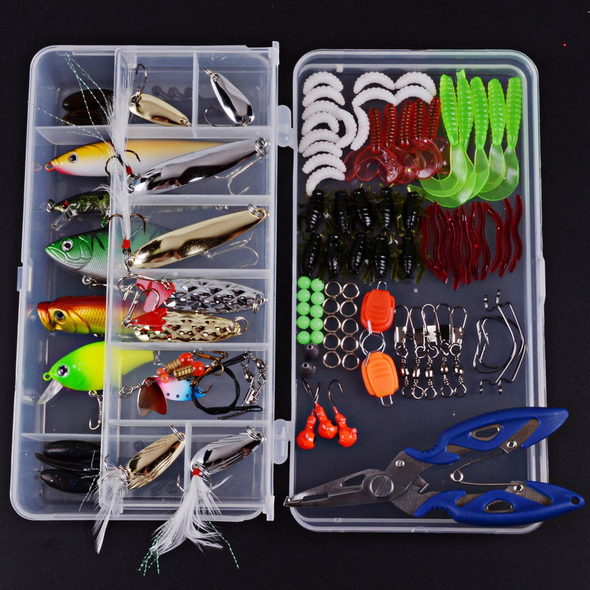 Super Value 101PCS Almighty Fishing Lures Kit with Mixed Hard Lures and Soft Baits Minnow Lures Accessories Box 101pcs set almighty fishing lures kit with box hard soft bait minnow spoon crank shrimp jig lure fishing tackle accessories