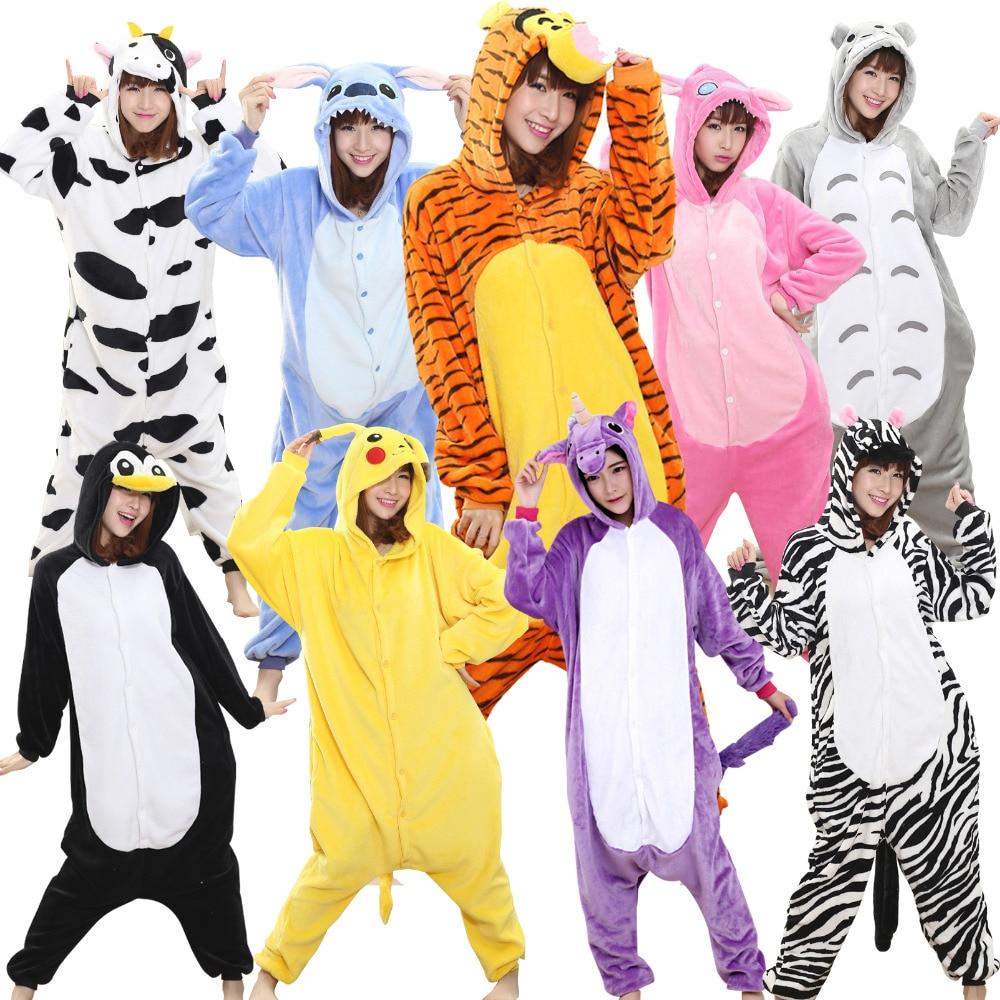 Flannel Hooded Pajama Sets Reindeer Unicorn Stitch Flash Unisex Costume Animal Onesies Women Adults Child Winter warm